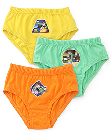 Ben 10 Briefs Pack Of 3 - Yellow Orange and Green
