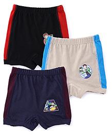 Ben 10 Briefs Solid Color Pack Of 3 - Black Blue Grey Red