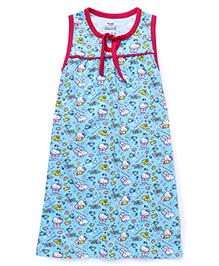 Hello Kitty Printed Sleeveless Nighty - Blue