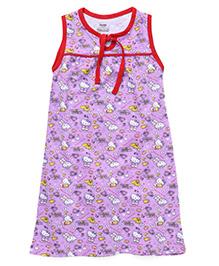 Hello Kitty Printed Sleeveless Nighty - Purple