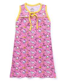 Hello Kitty Printed Sleeveless Nighty - Pink