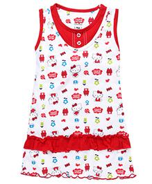 Hello Kitty Printed Sleeveless Nighty - White Red