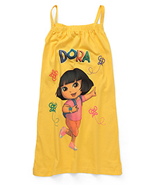 Dora Printed Singlet Nighty - Yellow
