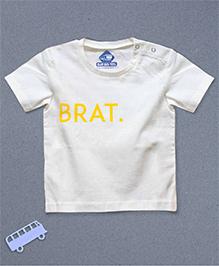 Blue Bus Store Brat Printed Short Sleeves T-shirt - White