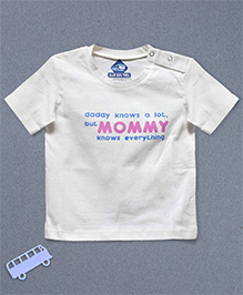 Blue Bus Store Mommy Printed Short Sleeves T-shirt - White
