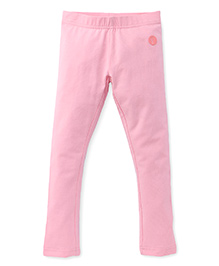 Pinehill Plain Solid Color Leggings - Pink