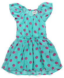 Pinehill Short Sleeves Frock Polka Dots Print - Green