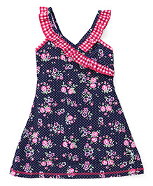 Pinehill Sleeveless Frock Swimsuit Floral Print - Navy