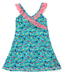 Pinehill Sleeveless Frock Fish Printed Swimsuit - Green