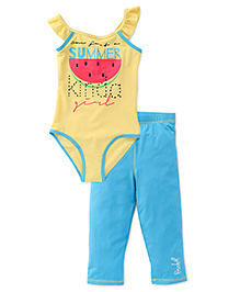 Pinehill 2 Piece Legged Swimsuit - Yellow Sky Blue