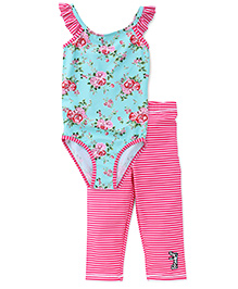 Pinehill 2 Piece Legged Swimsuit - Pink Green