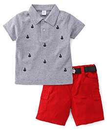 Toffyhouse Half Sleeves T-Shirt Printed And Shorts With Belt - Grey Red