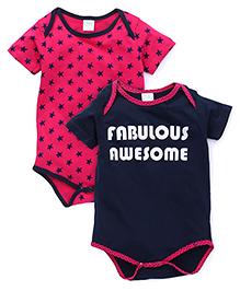 Babyhug Half Sleeves Printed Onesie Pack of 2 - Pink Navy