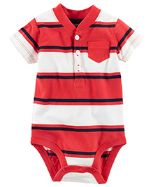 Carter's Striped Henley Bodysuit - Red