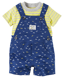 Carter's 2-Piece Top & Shortalls Set - Dark Blue Yellow
