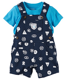 Carter's 2-Piece Top & Shortalls Set - Navy Blue