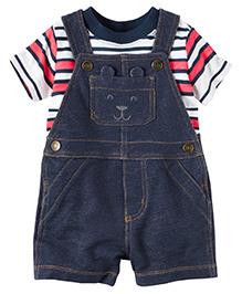 Carter's 2-Piece Top & Shortalls Set - Red White Dark Blue
