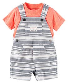 Carter's 2-Piece Top & Shortalls Set - Orange & Grey