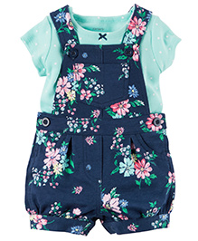 Carter's 2-Piece Top & Shortalls Set - Sea Green Navy Blue
