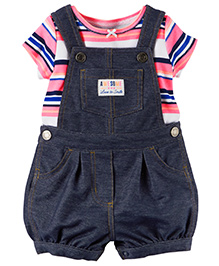 Carter's 2-Piece Top & Shortalls Set - White Pink Dark Blue