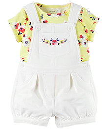 Carter's 2-Piece Top & Shortalls Set - White Yellow