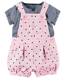 Carter's 2-Piece Top & Shortalls Set - Pink & Grey