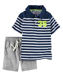 Carter's 2-Piece Polo & Canvas Shorts Set - Navy Blue & Grey