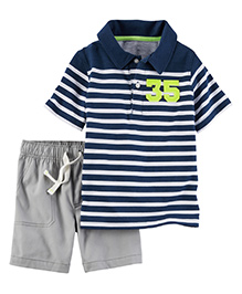 Carter's 2-Piece Polo & Canvas Shorts Set - Navy Blue & Grey