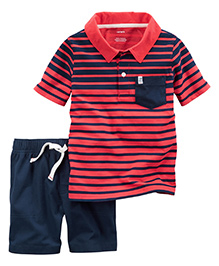Carter's 2-Piece Striped Polo & Canvas Short Set - Peach Navy Blue