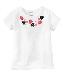 Carter's Floral Embellished Tee - White