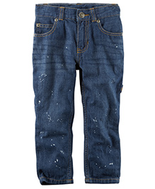 Carter's 5 Pocket Straight Fit Splatter Paint Jeans - Dark Blue