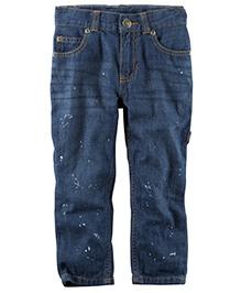 Carter's 5 Pocket Straight Fit Splatter Paint Jeans - Dark Blue