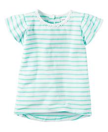 Carter's Flutter Sleeve Striped Tee - White Sea Green