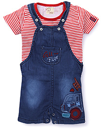 Olio Kids Dungaree With Half Sleeves Inner T-Shirt - Red & Blue