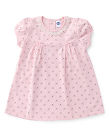 Teddy Puff Sleeves Frock Bow Print - Light Pink