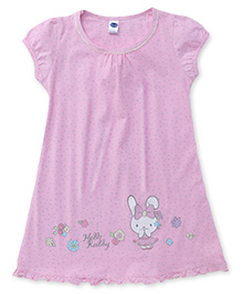 Teddy Short Sleeves Frock Bunny Print - Pink