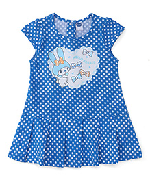 Teddy Cap Sleeves Dotted Frock Rabbit Print - Blue