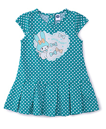 Teddy Cap Sleeves Dotted Frock Rabbit Print - Green