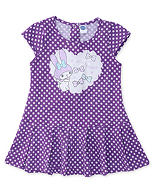 Teddy Cap Sleeves Dotted Frock Rabbit Print - Violet
