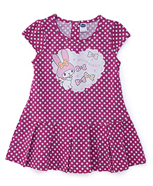 Teddy Cap Sleeves Dotted Frock Rabbit Print - Pink