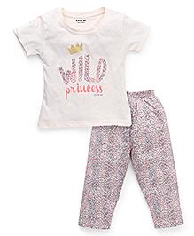 Doreme Half Sleeves Printed T-Shirt And Pajama Night Suit - Cream Multi Color