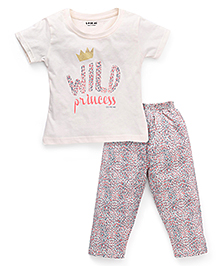 Doreme Half Sleeves Printed T-Shirt And Pajama Night Suit - Cream Multi Color