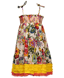 Pixi Lovely Singlet Floral Shirring Dress - Multicolour