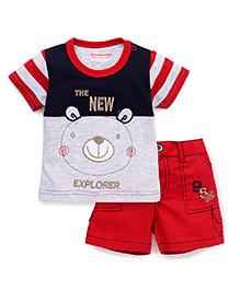 Wonderchild 2 Piece Boys Set With Wooven Pant - Red & Blue