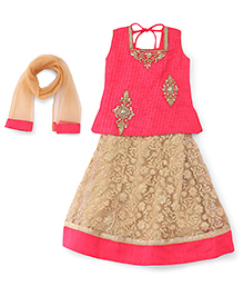Babyhug Sleeveless Choli Lehenga And Dupatta Set - Pink Beige