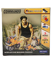 Commando Build N Play 3 Model Truck Set Yellow - 48 Plus Pieces