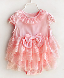 Dazzling Dolls Onesie Sytle Dress With Lace And Bow Trimmings - Pink