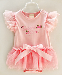 Dazzling Dolls Onesie Sytle Dress With Lace And Bow - Pink