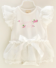 Dazzling Dolls Onesie Sytle Dress With Lace And Bow Trimmings -White