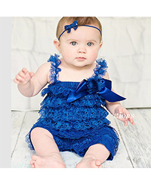 Dazzling Dolls Lace Onesie Style Dress & Head Band Set - Blue